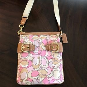 Coach Pink Canvas Crossbody Swing Pack 41309